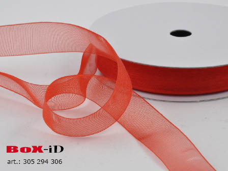 Organza woven edge Color 65 red 15mm x 50m