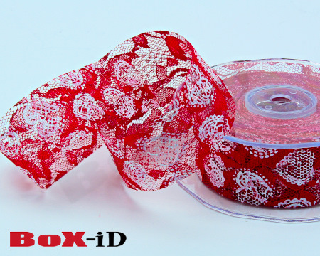 Hearts on lace    306 red/white   38 mm x 15 m