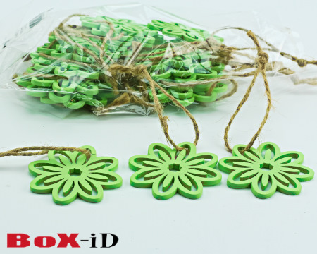 Wooden hangers Flower with rope : munt (24st)