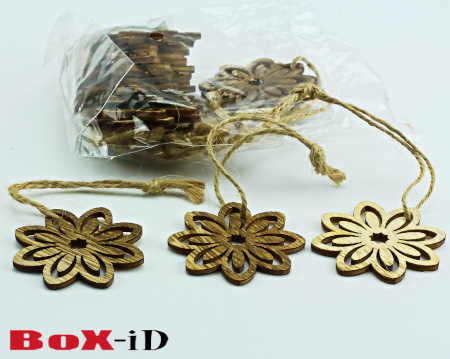 Wooden hangers Flower with rope : hout (24st)