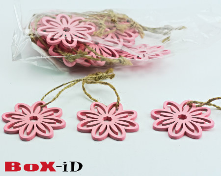 Wooden hangers Flower with rope : roze (24st)