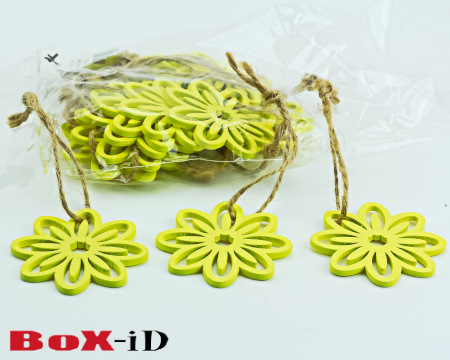 Wooden hangers Flower with rope : geel (24st)
