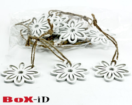 Wooden hangers Flower with rope : blanc (24ex)