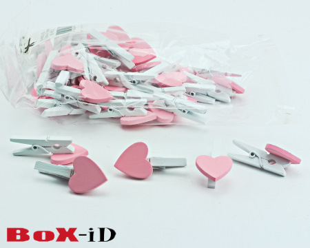 Wooden clip : small heart   roze 18 x 18 mm (36st)