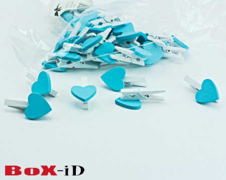 Wooden clip : small heart   blauw  18 x 18 mm (36st)
