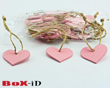 Wooden hangers with rope :  Heart2 roze (24st)