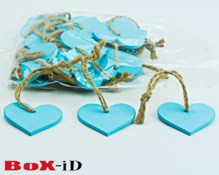Wooden hangers with rope :  Heart2 blauw (24st)