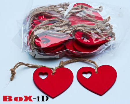 Wooden hangers with rope :  Heart3 rood (24st)